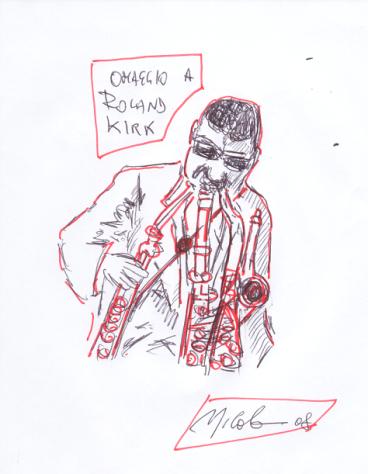Nick, omaggio a Roland Kirk (disegno su carta comune)