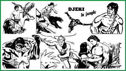 In ordine dall'alto, Alhoa, Banga, Djeki, Giungla King con gorilla, Ka-Zar e Yorga