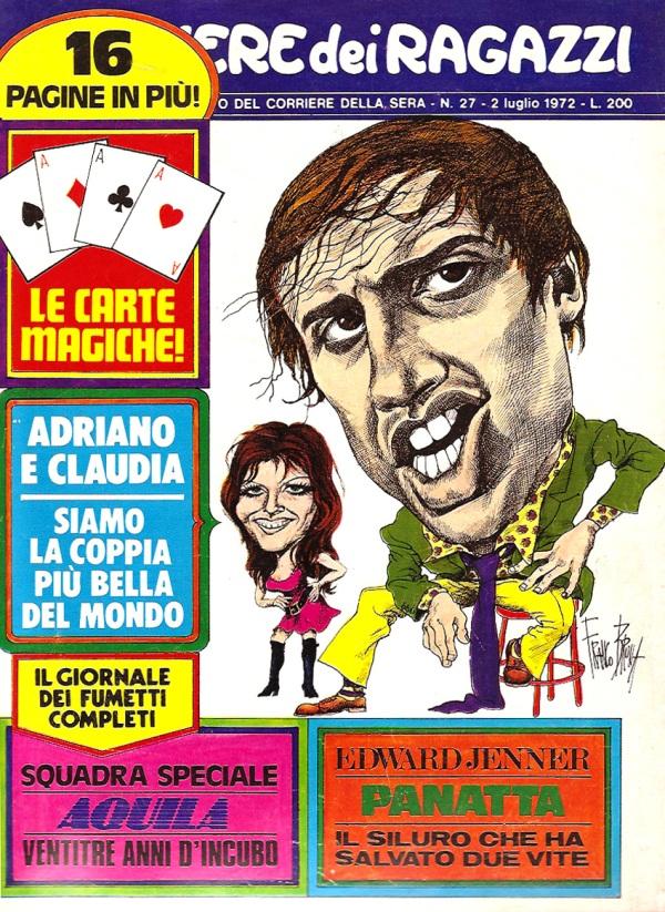 Copertina del caricaturista Franco Bruna, Corriere dei Piccoli, 1972