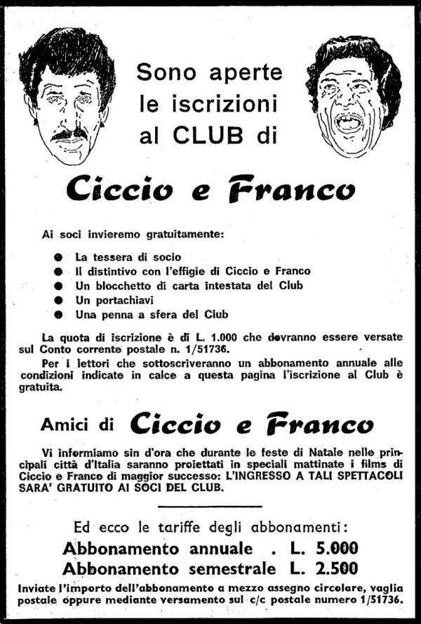 Annuncio che pubblicizza il club di Franco & Ciccio