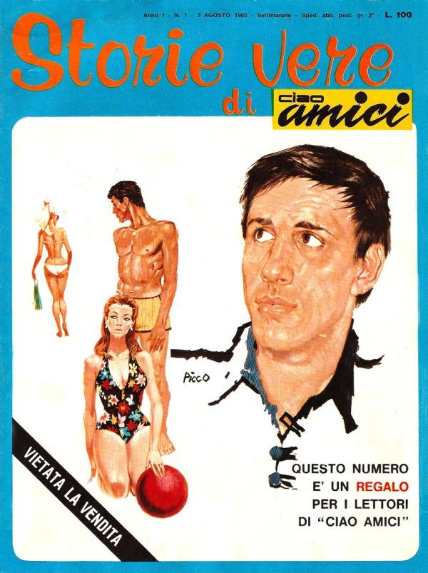 Adriano visto da Picco sulla cover del primo numero di Storie Vere di Ciao Amici, 1965