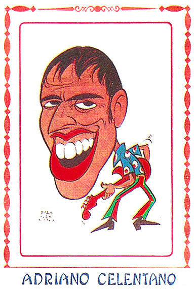 Il cantante in una caricatura di Bruno Prosdocimi per un album di Figurine Panini, 1968