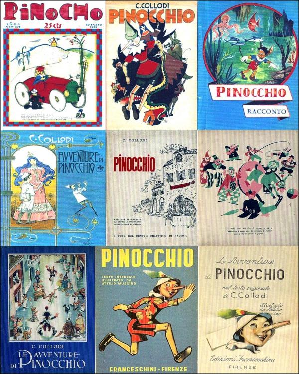 Sopra, in ordine, Pinocho, Madrid, (1929) ed edizioni di Pinocchio illustrate da Carlo Bisi (editore Pagani, 1945); Arfelli (editore Pagani, 1949); Carlo Chiostri (editore Bemporad, 1903); Centro didattico di Padova (1942); Le Aventures de Pinokio di Piero Bernardini (editore Albin Michel, 1934); Benito Jacovitti (editore La Scuola, 1953) e due edizioni del Pinocchio di Attilio Mussino (editore Franceschini, 1953)
