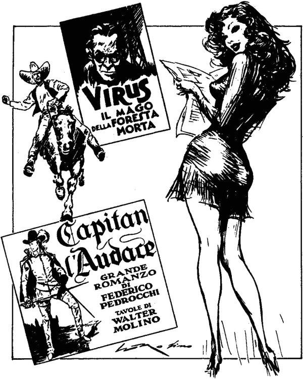 Alcuni dei fumetti realizzati a pennino e china, fra cui Kid Carson e Virus, 1939, entrambi su testi di Federico Pedrocchi