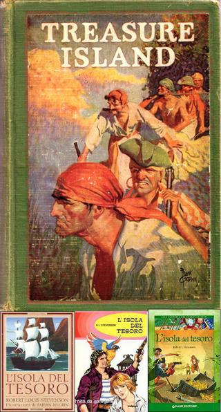 L'Isola del Tesoro in una edizione americana e in tre delle tante italiane