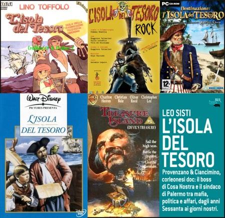 Dall'alto in ordine, un 45 giri del cabarettista Lino Toffolo, un manifesto teatrale, un games, il film prodotto da Disney, altro film ma con Charlton Heston e un'Isola del tesoro con metafora politica dei nostri giorni