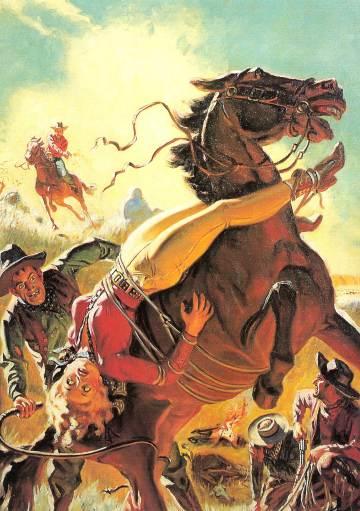 Lariat Story Magazine (Trigger Man from Texas!), 1944, illustrazione di Allen Anderson
