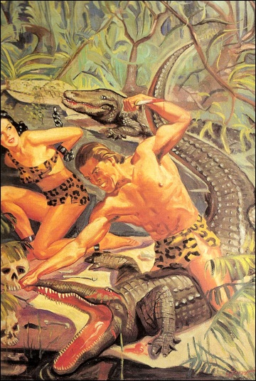 Jungle Stories (Huntress of the Hell-Pack), 1949, illustrazione di George Gross