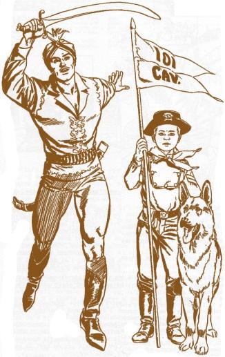 Due dei tanti lavori di Marcello, Il Cavaliere Sconosciuto e il giovane caporale Rusty col suo Rin Tin Tin