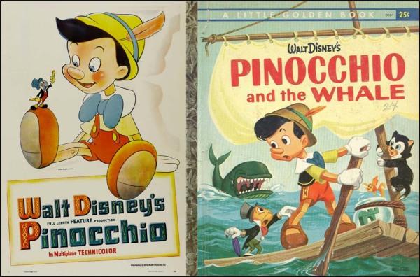 > La locandina del film di Walt Disney, 1940, e una delle relative versioni stampate