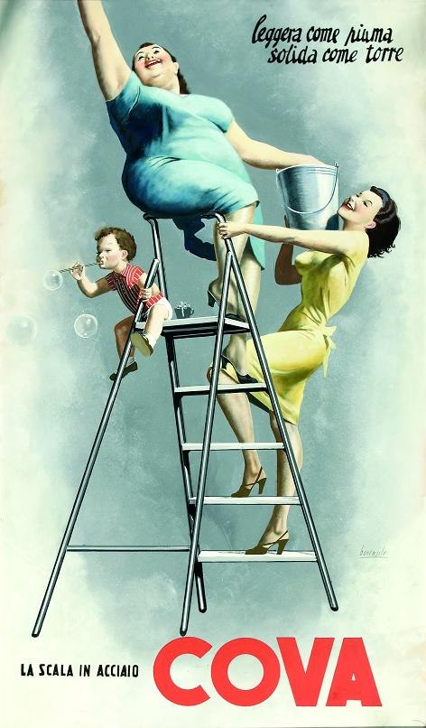 Tempera dell'illustratore Gino Boccasile per le scale Cova degli anni Cinquanta
