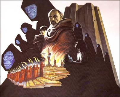 Locandina di Druillet per il film Il nome della rosa, del regista Jean-Jaques Annaud, guazzo, 120x160, 1986