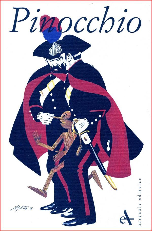 """Copertina del catalogo Arsenale per la mostra """"Pinocchio, Un naso lungo il giro del mondo"""", a cura di Piero Zanotto, 1998"""