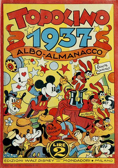 Copertina di Albo Almanacco Topolino 1937, realizzata da Antonio Rubino