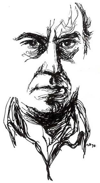 Autoritratto a china di Gianni De Luca, 1974