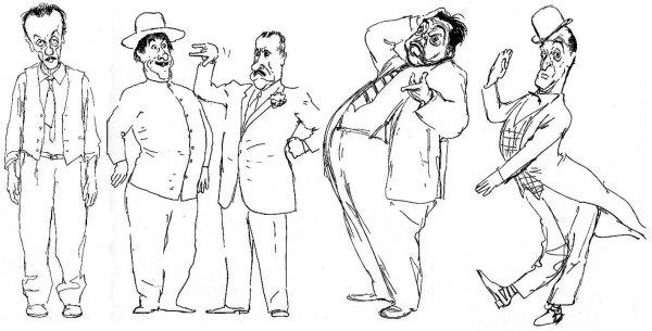 Alcune delle celebri caricature di personaggi schizzate a pennino, Eduardo e Peppino De Filippo, Aldo Fabrizi, Totò