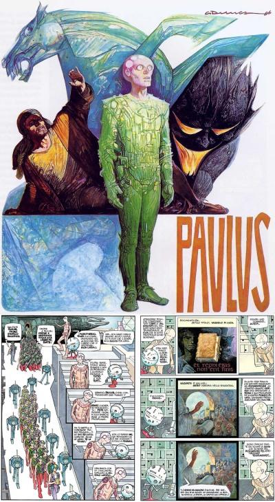 Copertina e due tavole di Paulus per Il Giornalino, 1988