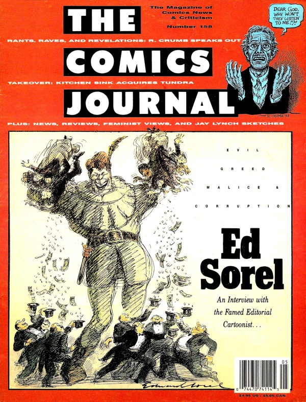 Copertina del numero di The Comics Journal dedicato a Ed Sorel, 1993