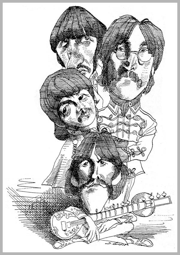 Il mitico gruppo musicale Beatles, caricatura del 1968