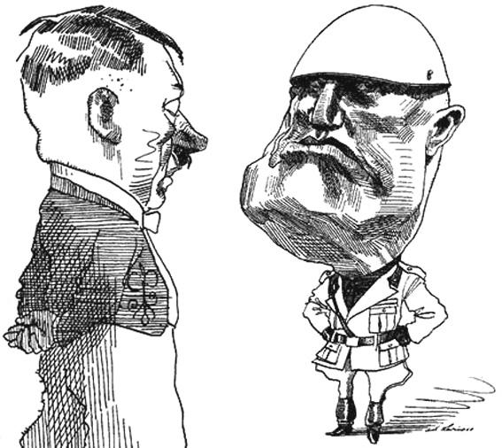 Altre due caricature di Levine, Hitler e Mussolini