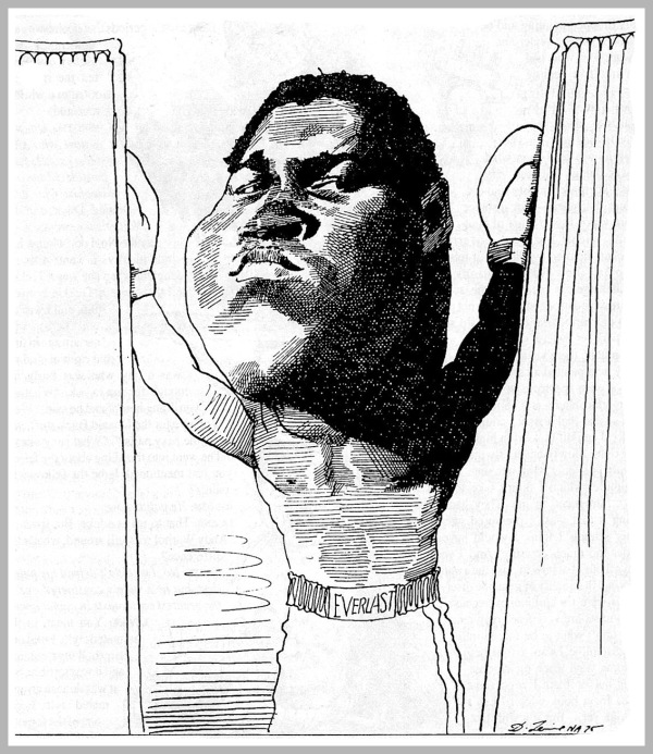 Il campione Muhammad Ali alias Cassius Clay, caricatura del 1975