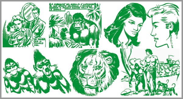 Dall'alto, in ordine, i genitori di Akim e il gorilla Kar che lo adotta, Rita e Jim, le scimmiette Zig e Ming, il leone Rag e un panel con i protagonisti della serie