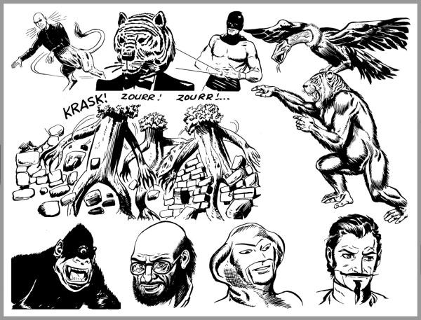 Alcuni dei molti nemici di Akim. Dall'alto, in ordine, l'alieno Mixor capo degli Alberoidi, Principe Tigre, Atomix, due animali ibridi, gli Alberoidi, il ciclope Terror, lo scienziato Dottor Xor, Cobra, Mister Gold