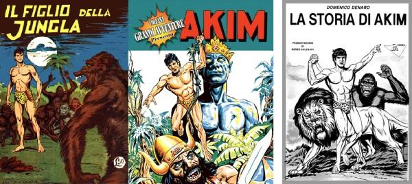 Akim gigante n. 1, 1956, il volume dell'Editoriale Mercury nella Collana Grandi Avventure, 2001, e il saggio La Storia di Akim di Domenico Denaro, 1985